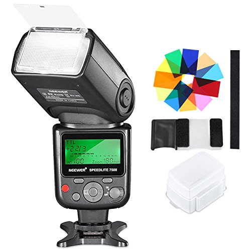 Neewer 750II TTL Speedlite Flash Kit with Hard Diffuser, 12 Color Filters, Microfiber Cleaning Cloth for Nikon D7200 D7100 D7000 D5500 D5300 D5200 D5100 D5000 D3300 D3200 and Other Nikon DSLR Cameras