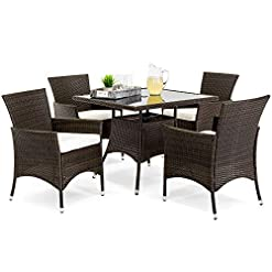 Garden and Outdoor Best Choice Products 5-Piece Indoor Outdoor Wicker Dining Set Furniture for Patio, Backyard w/Square Glass Tabletop… patio dining sets