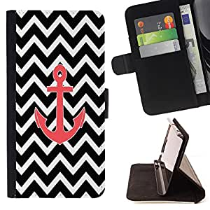 Super Marley Shop - Leather Foilo Wallet Cover Case with Magnetic Closure FOR Apple Iphone 5C- Chevron Anchor Boat