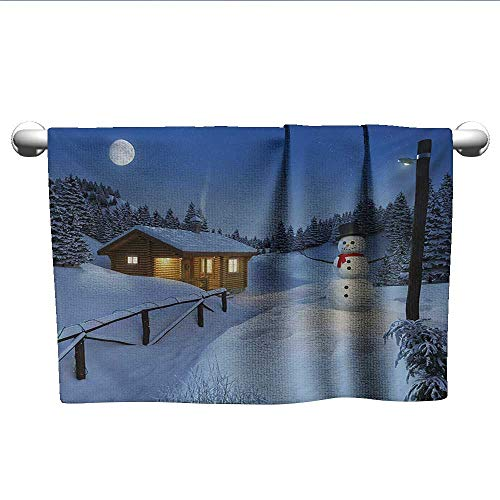 alisoso Christmas,Pool Towels Wooden Rustic Log Cottage Scenery in The Winter Season Warm Moonlight Spirit Fast Drying Fitness Hand Towels Blue White W 28