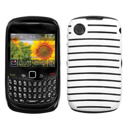 MyBat Rubberized Railing Fusion Protector for Cover Blackberry Curve 8520 - Retail Packaging - White/Black