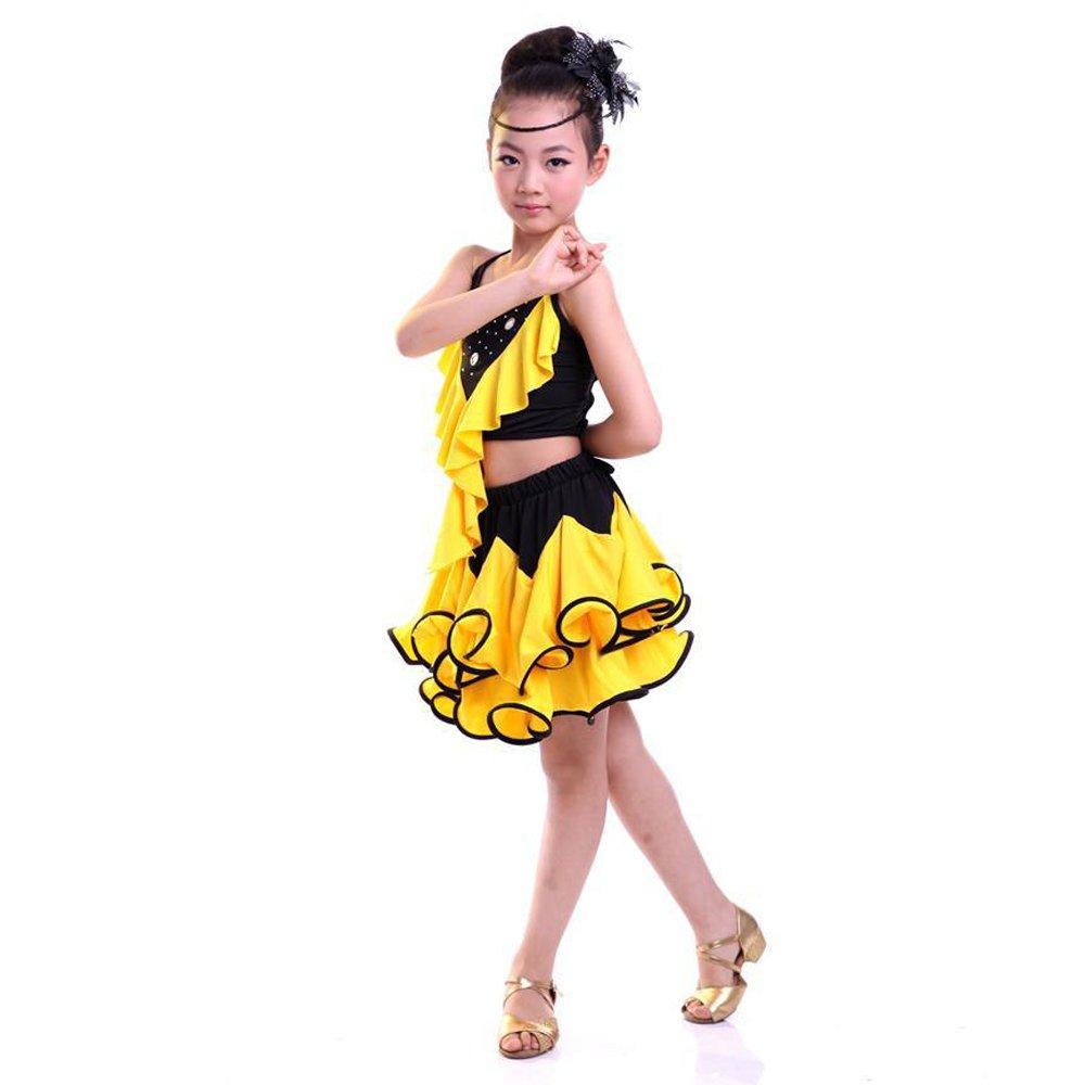 7f8767b692796 KINDOYO Fille Mode Costumes de Latine Danse Jupe Enfants sans Manches  Vêtements de Performance Robe  Amazon.fr  Vêtements et accessoires