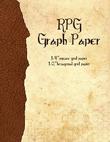 RPG Graph Paper: 1/4-inch Grid & 1/2-inch Hexagonal Grid Paper for Map-Drawing