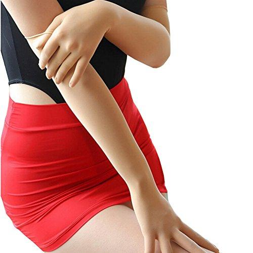 (1 Pair Ultra-thin Sheer Seamless Smooth Anti-UV Breathable Arm Sun Block Long Golves (Beige))