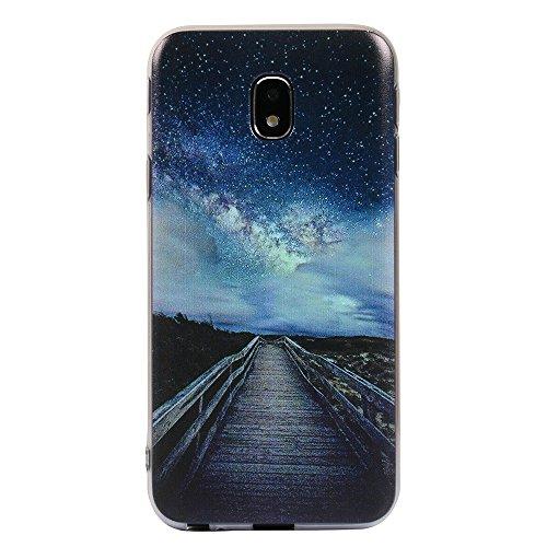 Funda Galaxy J7 2017,EUDTH Suave TPU Gel Funda Case Delgado Silicona Fundas Carcasa Espalda para Samsung Galaxy J7 2017 (5.5 Pulgadas) Flor Purpura Cielo estrellado