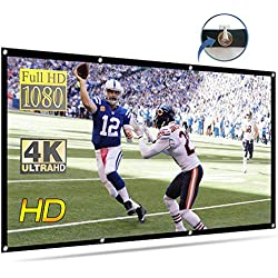 120 inch Projection Screen, VTOSEN 16:9 HD Foldable Anti-Crease Portable Projector Movies Screen for Home Theater Outdoor Indoor Support Double Sided Projection