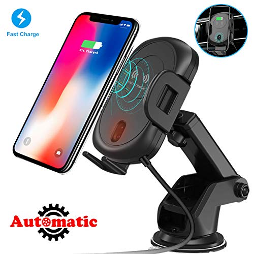 Wireless Car Charger Mount, 10W/7.5W/5W Qi Fast Charging Auto-Clamping Car Phone Holder - Windshield Dashboard Air Vent Phone Holder Compatible with iPhone Xs MAX/XS/XR/X/8/8+, Samsung S10/S10+/S9/S9+