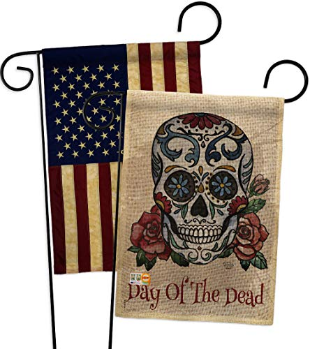 Ornament Collection GP191026-DBAA Day of The Dead Burlap Fall Halloween Impressions Decorative Vertical 13