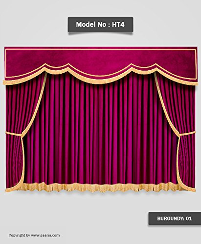 Saaria Backdrop Velvet Home Theater Curtains School Stage Hall Drapes 12'W x 8'H