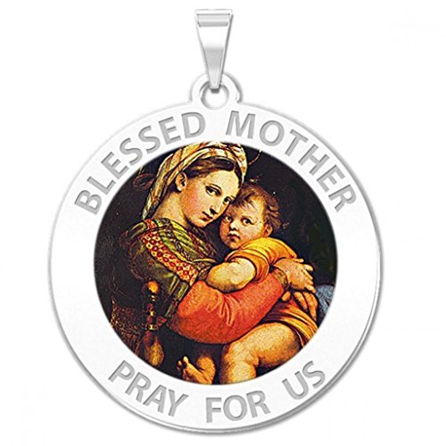 gin Mary Round Religious Medal Color 1 Inch Solid 14K White Gold ()