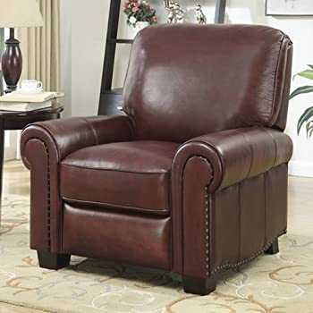 Magnificent Amazon Com Abbyson Westwood Top Grain Leather Chair Brown Unemploymentrelief Wooden Chair Designs For Living Room Unemploymentrelieforg
