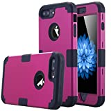 iPhone 7 Plus Case, LONTECT Hybrid Heavy Duty Shockproof Full-Body Protective Case with Dual Layer [Hard PC+ Soft Silicone] Impact Protection for Apple iPhone 7 Plus - Purple/Black (Wireless Phone Accessory)