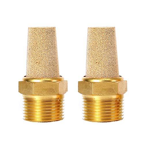 """Quickun Air Pneumatic Mufflers, 3/8"""" Male Thread Sintered Bronze Exhaust Muffler Silencer (Pack of 2)"""