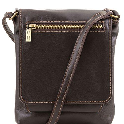 Tuscany Leather Sasha - Bolso unisex en piel suave Cognac Bolsos en piel Marrón oscuro