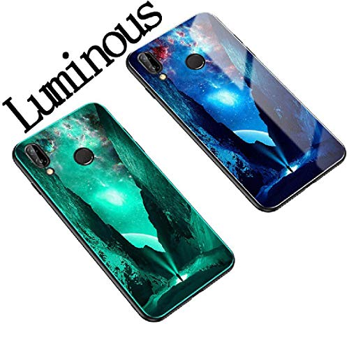(Vivo V11 Pro/X21s Case, Luminous Picture Very Light Slim 9H Tough Glass Back Cover, WEIFA Newest Super Cool 2 In 1 Protection Combined CellPhone Case For Vivo V11Pro illuminate Valley)