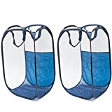 Avo Living Pop-Up Laundry Hamper - Foldable Mesh Clothes Basket with Carry Handles, Collapsible Reinforced Durable Rectangle Storage Bin Bag with Side Pocket, Navy Blue Pack of 2