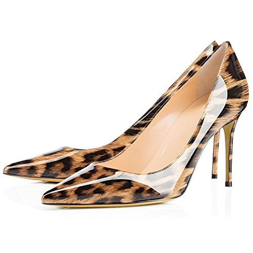 Pointy Toe for Womens Shoes heel Party on Basic Office Leopard Patent Dress Lovirs Slip Mid Pumps Stiletto wzqvvH4