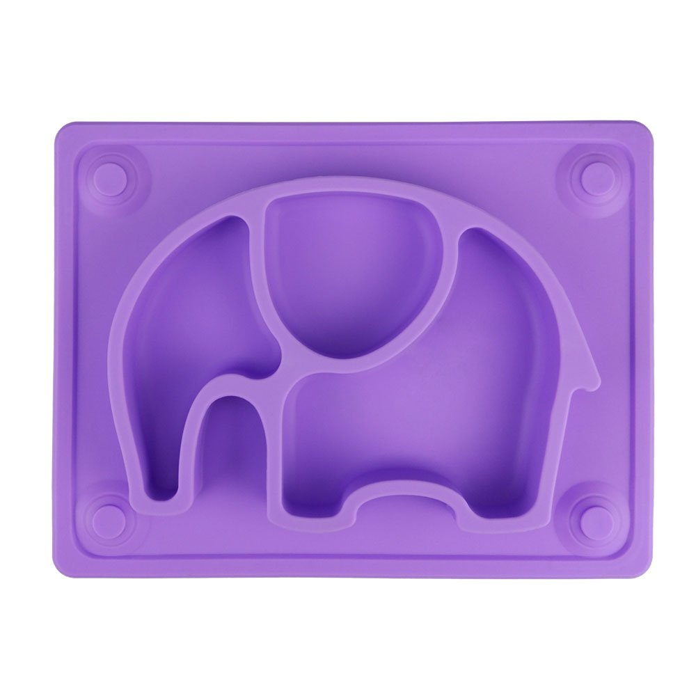 Mini Baby Placemat, SILIVO 10''x7.7''x1'' Silicone Child Feeding Mat with Suction Cup Fits Most Highchair Trays (Purple)