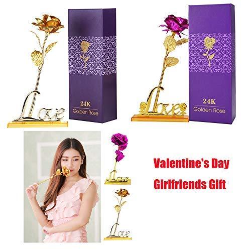 COOFIT Rose dor Cadeaux de la Saint-Valentin Fleurs Rose Eternelle d/'Or Rose avec Base et bo/îte Cadeau comme Cadeau pour la Saint Valentin la F/ête danniversaire la F/ête des M/ère