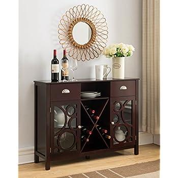Kings Brand Furniture Buffet Server Sideboard Wine Cabinet, Cherry