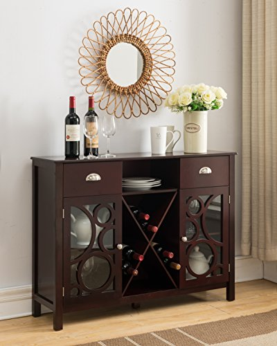 Kings Brand Jamestown Wood Buffet Server Storage Sideboard Wine Cabinet, Cherry