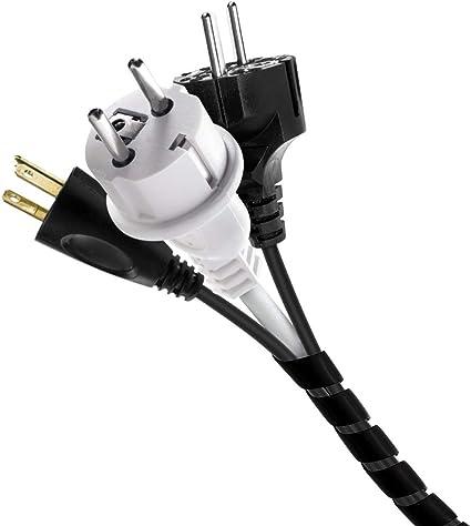 CODIRATO Organizador de Cables en Espira, Cable Universal en Espiral 8MM * 12M Tubo Enrollador de Cable para Cables Espirales y Pida Cables (Negro)