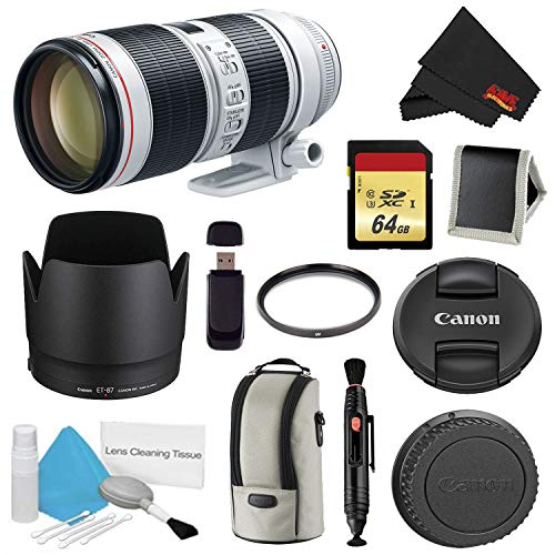 Canon EF 70-200mm f/2.8L is III USM Lens Bundle w/ 64GB Memory Card + Accessories, and UV Filter (International Model)