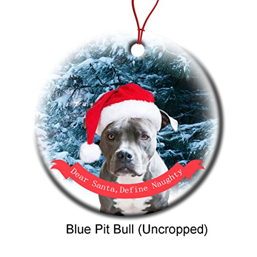 Xmas Ornaments Ceramic Flat Round Snowflakes Santa Dog Blue Pit Bull Uncropped Ears Custom Tree Branch Hanging Decoration for Holiday Season
