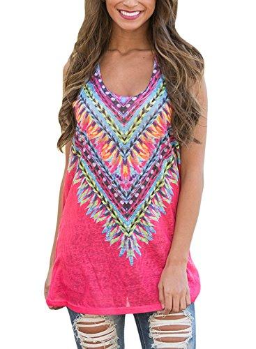 Elapsy Womens Tribal Print Sleeveless Loose Tunic Tank Tops Casual Blouses Vest T Shirt