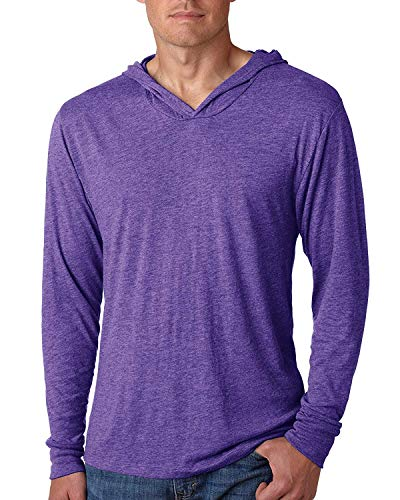 Yoga Clothing For You Mens Triblend Lightweight Hoodie Tee, Purple Rush, Medium