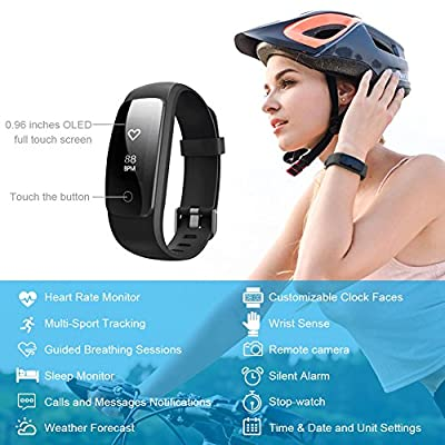 LETSCOM Fitness Tracker Bluetooth Smart Bracelet, Waterproof OLED Screen Smartwatch with Heart Rate Monitor Sleep Tracker Pedometer Smart Wristband Band for iOS and Android Smartphone