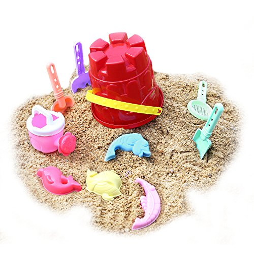 Zooawa Beach Sand Toy Set for Kids, Beach Bucket Sand Models Play Kits Summer Playing Molds Pail Sets Include Red Bucket, Rake, Shovels, Watering Can, Sand Models, Colorful]()