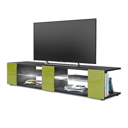 Mesa para TV Lowboard Movie V2, Cuerpo en Negro Mate/Frentes en ...