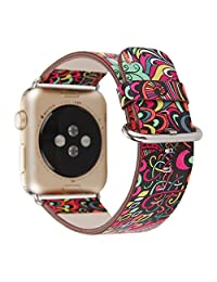 MeShow TCSHOW 38mm Soft PU Leather National Style Replacement Belt Strap Wrist Band Bracket with Metal Clasp Compatible for iWatch All Version(Not fit for iWatch 42mm)