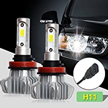 Jiuguang LED Headlight Bulbs All-in-One Conversion Kit H4/H7/H11/9005/9006 Bridgelux-COB Chips Blue Body 8000lm 6000k for Car Lamp Replacement S9 (H11, Silvery)