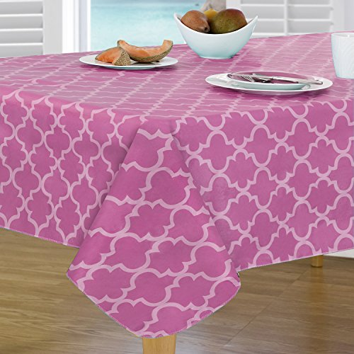 Pink Vinyl Tablecloth (Everyday Luxuries by Newbridge Peyton Geo Flannel Backed Indoor Outdoor Vinyl Table Linens, Tablecloth 52-Inch by 52-Inch Square Tablecloth, Bright)