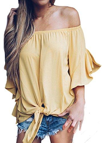 Summer Tops for Women 2018 Off The Shoulder Chiffon Blouse Short Sleeve Shirts Yellow XL