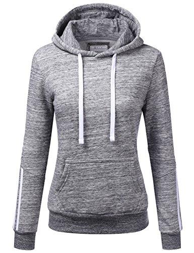 (NINEXIS Womens Long Sleeve Arm Multiple Line Pullover Hoodie Sweatshirts MARLEDCHARCOAL L)