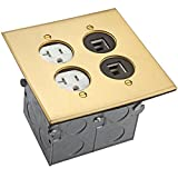 Enerlites 705510-C-D Floor Box Coin Open Assembly Kit 705510-C, 2 Gang 20A Tamper with Weather Resistant Duplex Receptacle Electrical Outlet