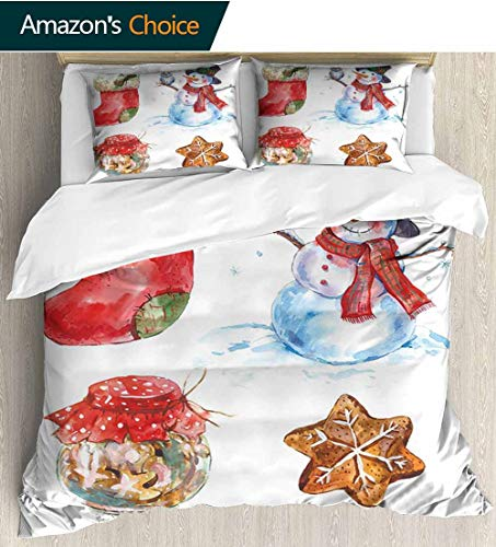 Christmas 3 PCS King Size Comforter Set,Watercolor Xmas Icons Snowman with Owl Sock Gingerbread Cookie Decorative 3 Piece Bedding Set with 2 Pillow Sham 104