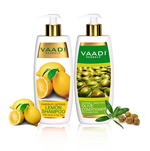 Lemon with Tea Tree Extract Shampoo and Olive Conditioner - ★ Dandruff Defense Shampoo - ★ ALL Natural - ★ Paraben Free - ★ Sulfate Free - ★ Scalp Therapy - ★ Moisture Therapy - ★ Suitable for All Hair Types - Each Pack of 350ml - Each 11.8 Oz - Vaadi Herbals - Olive Tree Conditioner
