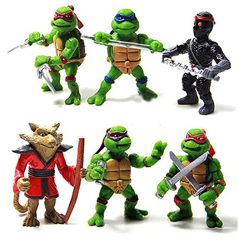 Small 6 Pcs Teenage Mutant Ninja Turtles Figures Toys Action Set TMNT Collection Mini Movie 1.4 inch Scale 1/48