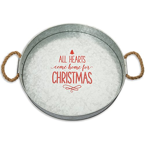 Vintage Christmas Decor (Brownlow Gifts Galvanized Metal Round Serving Tray, All Hearts Come Home For Christmas)