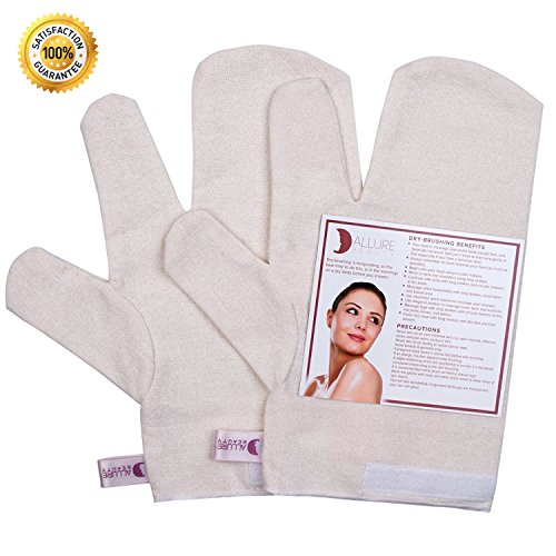 Allure Beauty Ayurvedic Garshana 100% Raw Silk Gloves - Dry Massage Gloves, Remove Dead Skin Cells, Reduces Cellulite, Stimulates Blood Flow, Lymphatic System Detox (small)