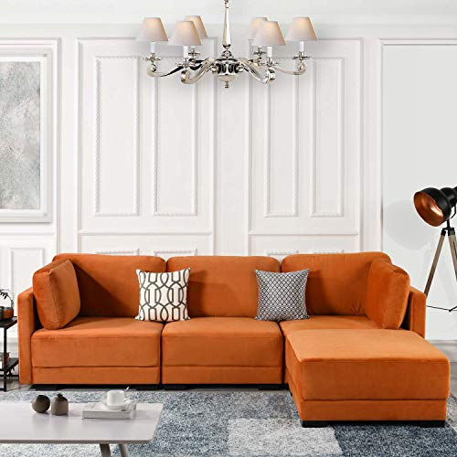 - Orange Configurable Sectional Sofa Couch Convertible Sofa Sectional w/Reversible Chaise Ottoman, 3 Piece (Custom Couch Feature) Modern L-Shaped Sectional Sofa from 2Pc Loveseat to Chaise Ottoman Sofa