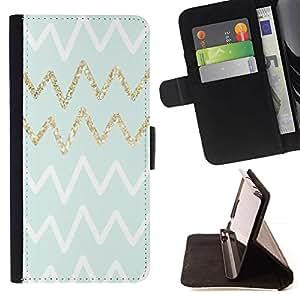 Momo Phone Case / Flip Funda de Cuero Case Cover - Líneas Patrón Oro Azul Blanco - Sony Xperia Z3 D6603