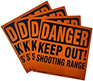 Aluminum Danger Keep Out Shooting Range Sign 4 pack (Orange)