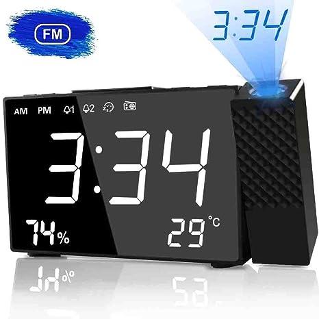 HQQNUO Despertador Proyector LED Radio Despertador Digital con Dobles Alarmas Función Snooze Temporizador de Apagado Reloj