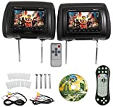 Rockville RDP711-BK 7-Inch Black Car Headrest Monitors with DVD Player/USB/HDMI Plus Games