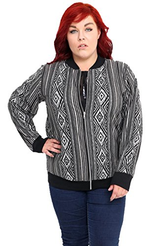 Girlzwalk Women's Long Printed Varsity Aztec Zip Sleeve Coat Ladies Bomber Plus Print Jacket Size CUxfwqCTr